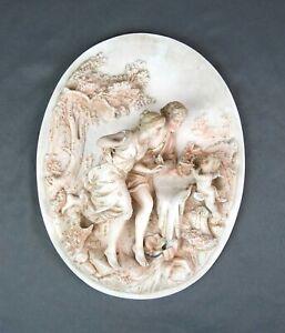 Antique German Porcelain Wall Plaque 1850-1880 Couple w Putti Cherub As Found