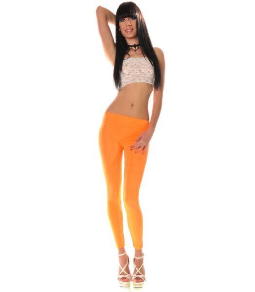 2019 Moda Neon Sport Treadmill Stretch Donna Leggings Lucido Arancione