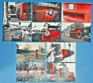 Set-of-10-NEW-Red-Theme-on-B-amp-W-Postcards-for-Postcrossing-amp-Postcardsofkindness