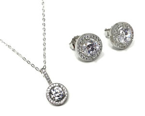 9bed9b68138 Details about Micro Set Cubic Zirconia Halo Pendant Necklace & Stud  Earrings - Sterling Silver