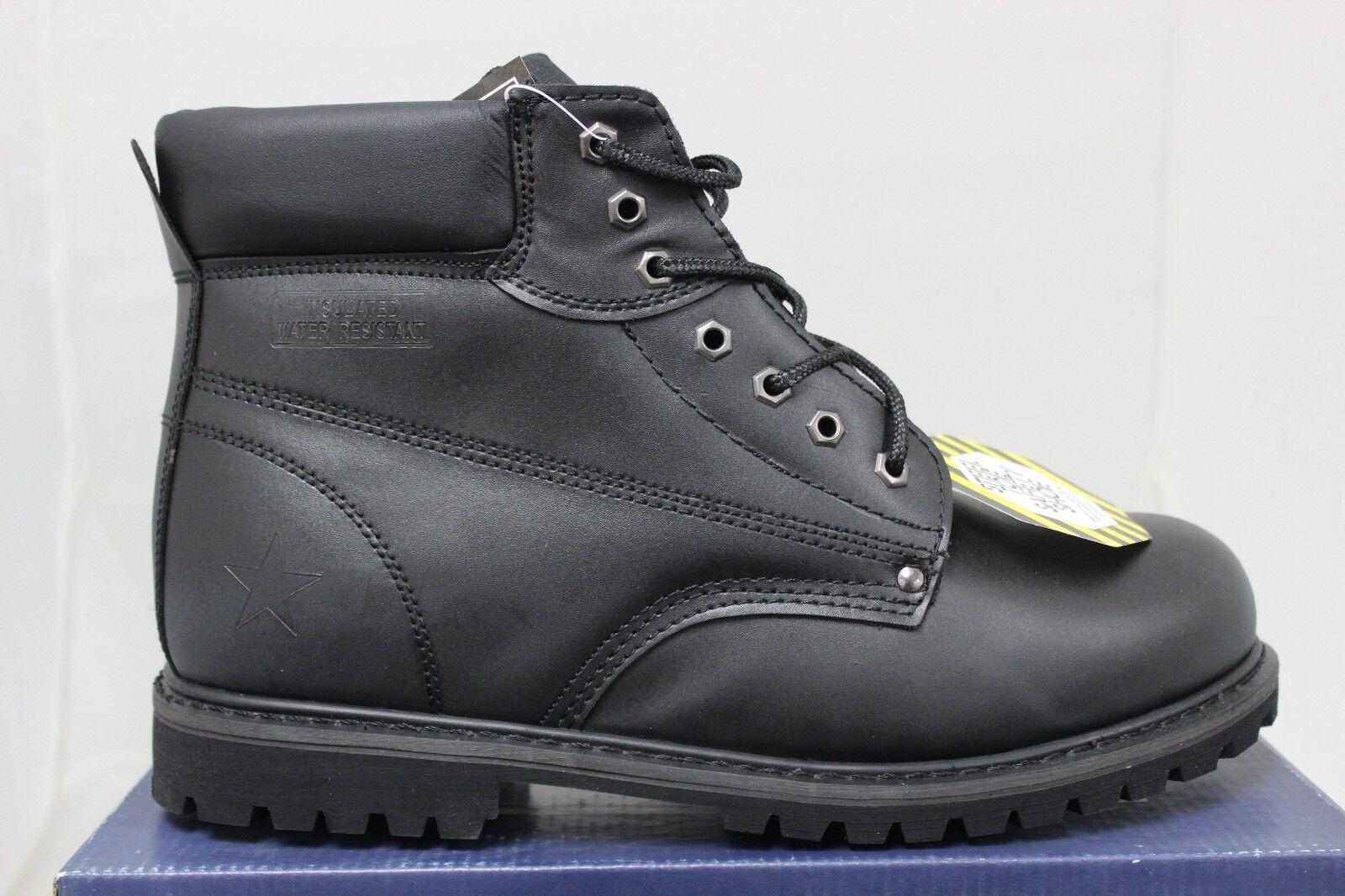 Homme Five Star Chaussures Embout Coqué Acier Cuir Noir Toutes les Tailles grand