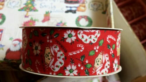 Vintage Strawberry Shortcake Holiday Red Candy Cane ribbon 10ft. 1 7/16 craft