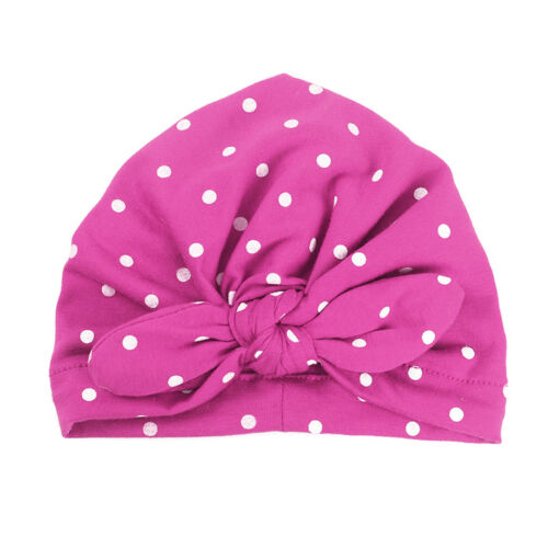 Baby Girls Sweet Dot Hat with Bow Candy Color Turban Cap Infant Baby Accessories