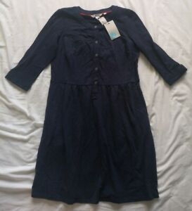 Boden-Women-039-s-Navy-Button-Up-Dress-Size-10-Petite-New-With-Tags