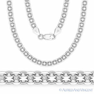 Solid-925-Sterling-Silver-Bismark-3-1mm-Men-039-s-Link-Chain-Necklace-Italy-Italian