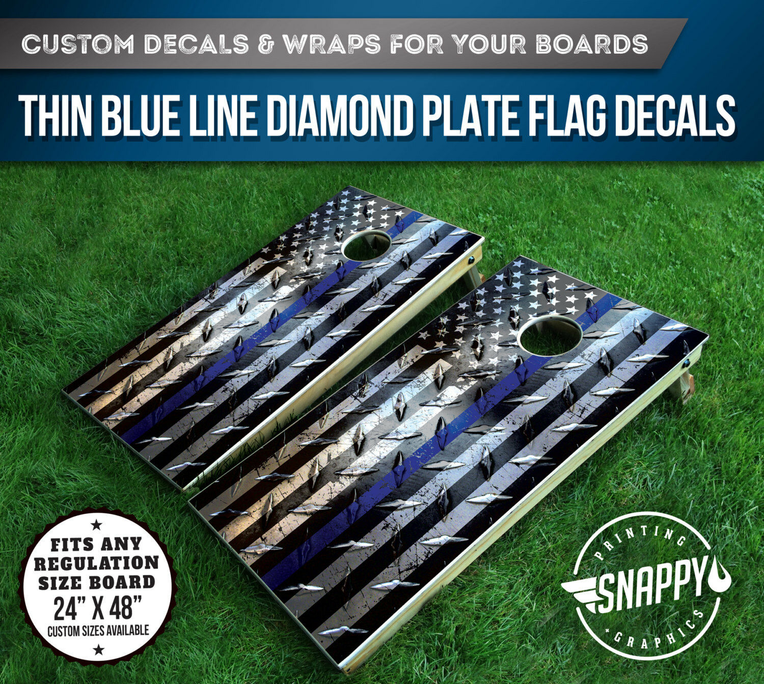 Thin bluee Line  American Flag Diamond Plate Look Cornhole Decal-Bags -Vinyl Decal  buy brand