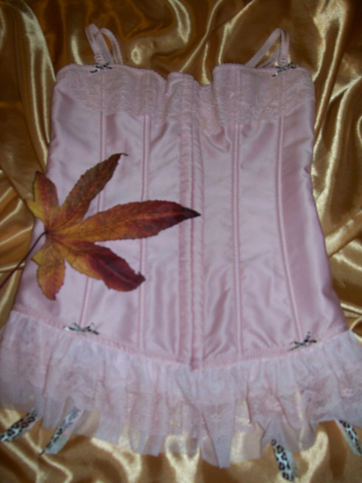 Ann Summers Victoriana pink boned satin & lace suspender corset basque 8 BNWT