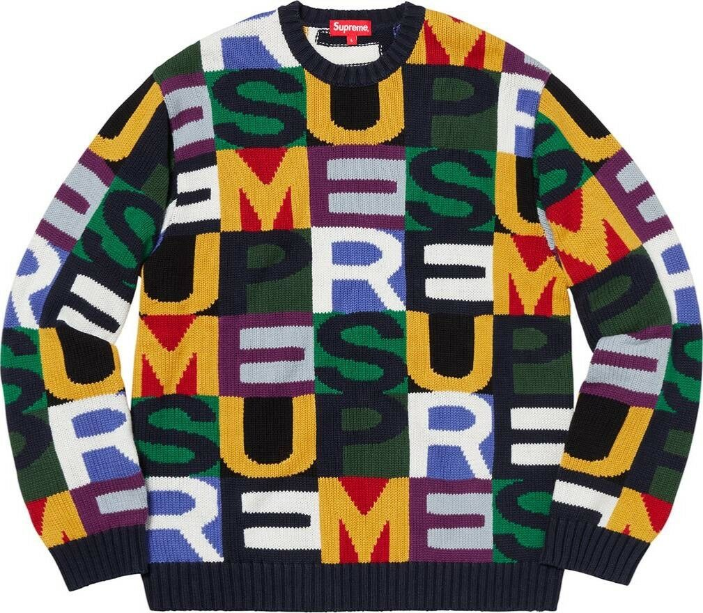 Supreme Big Letters Sweater Multicolor XL SOLD OUT FW18