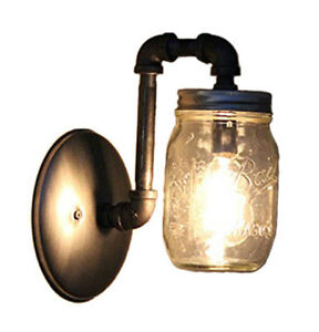 Image Is Loading Black Pipe Mason Jar Wall Sconce Light