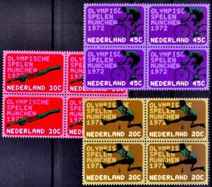Netherland-1972-MNH-3v-in-Blk-Olympic-games-Munich-Swimming-Cycling-Sports-M62