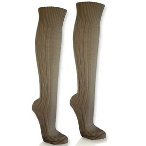 Kniebundstruempfe-Trachtenstruempfe-Trachtensocken-Zopf-safari-beige-NEU