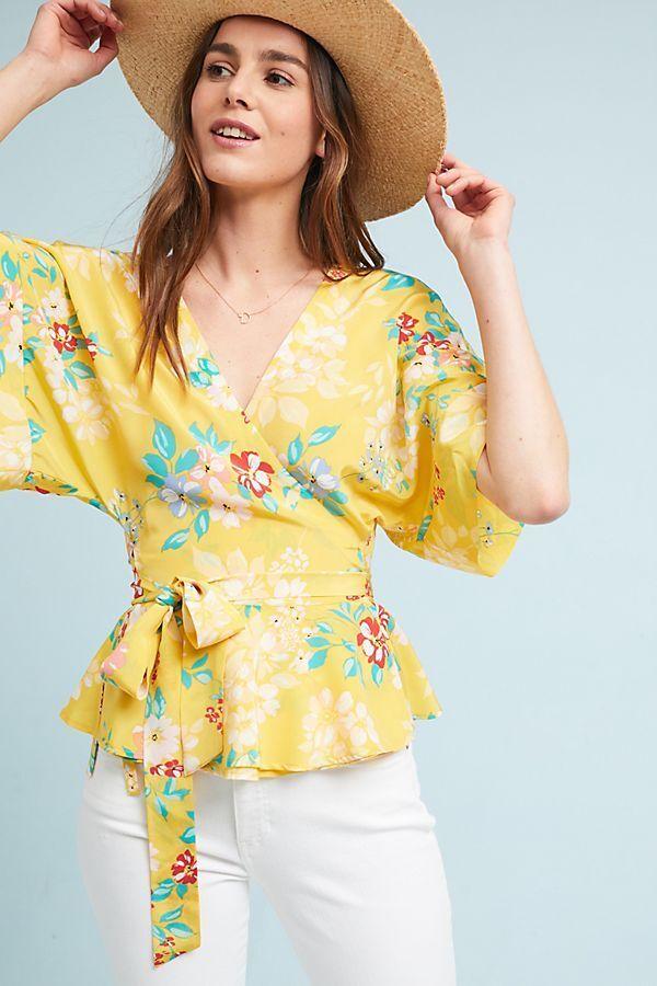 Anthropologie Yumi Kim Silk Floral Wrap Blouse Top Sz Medium