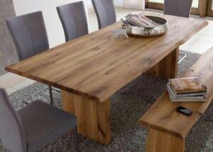Details zu Massivholz Wangen-tisch 260x100 Esstisch Baumkante Esszimmer  Holz Wildeiche öl