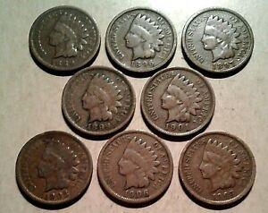 Mixed-Dates-1800s-1900-039-s-INDIAN-HEAD-CENTS-Collection-8-Coin-Lot-Partial-Roll
