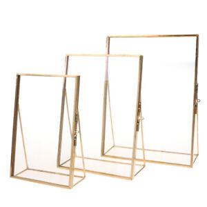 Metall-Haus-Bilderrahmen-antik-Rahmen-Fotorahmen-Standrahmen-Gold-4x6-Zoll