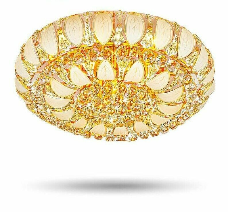 Crystal Lamp Ceiling Lights Gold Round Remote Control Indoor Decoration Fixtures