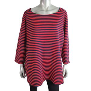 Croft-amp-Barrow-Womens-Top-Plus-Sz-2X-Red-amp-Navy-Striped-Zipper-3-4-Sleeve-Cotton