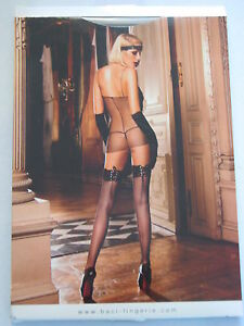 d92df45d2cd Baci Lingerie Black Lace Top Corset Back Fishnet Thigh High ONE SIZE ...