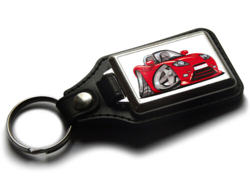 Koolart Cartoon Car Fiat Barchetta Leather and Chrome Keyring