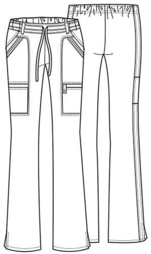 Fit Cherokee Scrubs Petite Women/'s Cargo Pants 21100P Red REDV Cherokee Luxe Jr