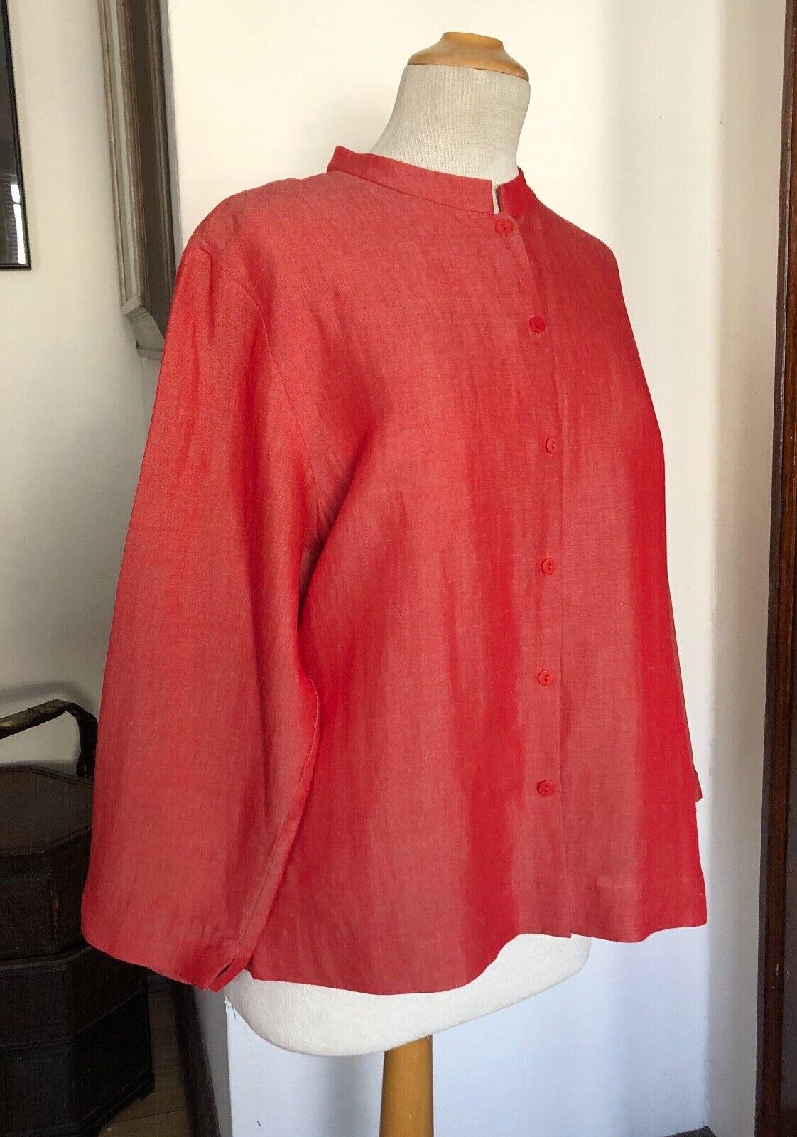 Eileen Fisher Sz L Fine Variegated Linen rot Orange Striaed Blouse Shirt Top