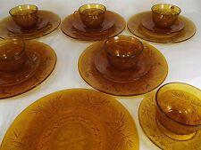 "TIARA Indiana Glass Amber 9"" dinner plates tea cups saucers 18 PIECE lot VINTAGE"