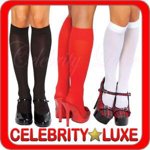 Sheer Knee High Stockings Socks Black Red White Fancy Dress Costume School Girl