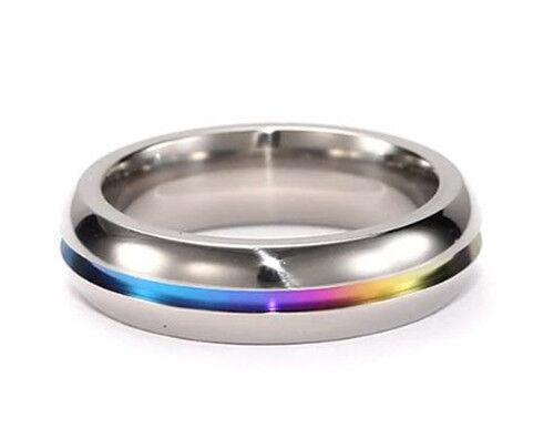 Pride Shack - Rainbow Anodized Plain Ring - LGBT Lesbian Gay Pride Ring Steel