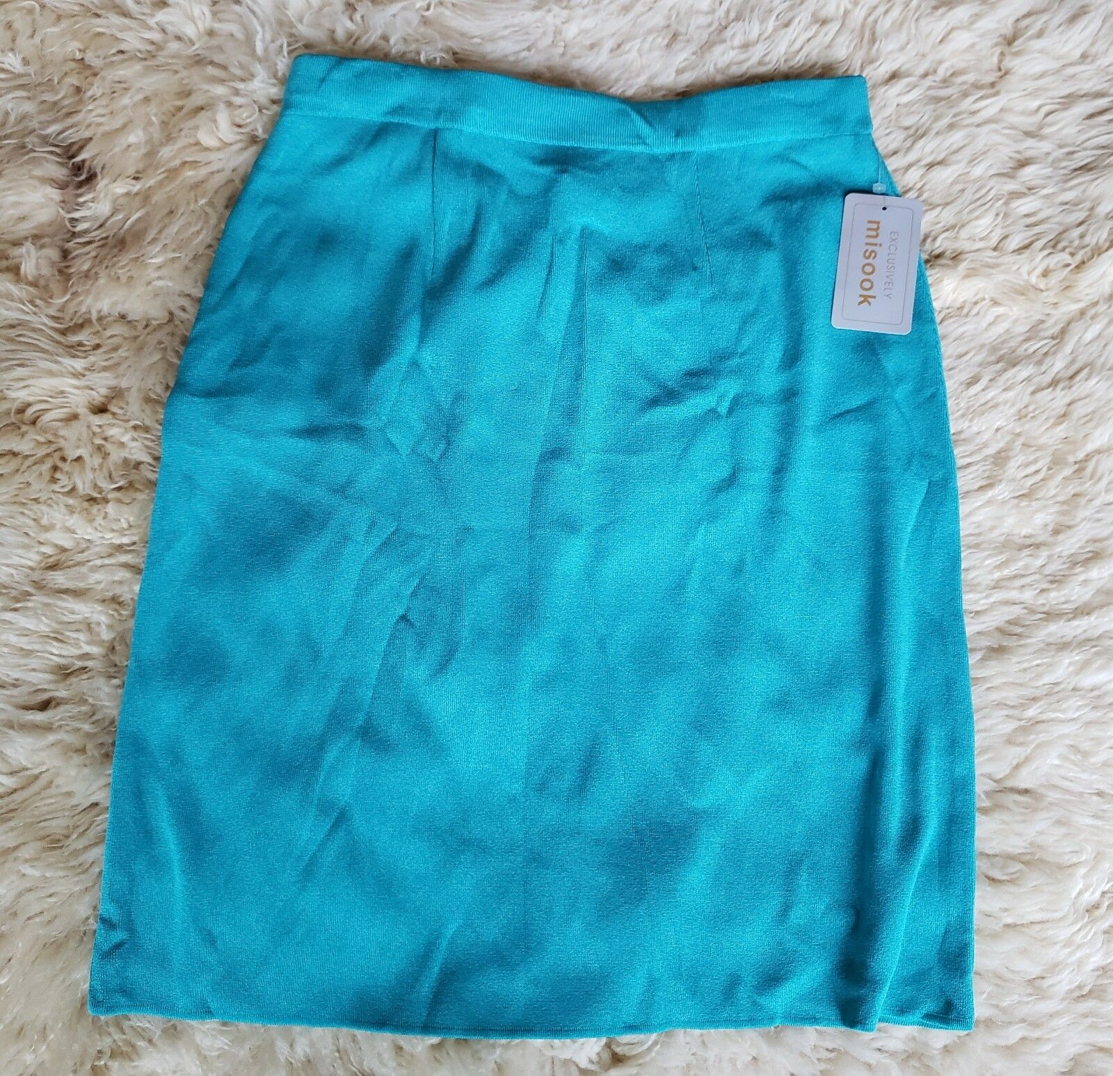 NEW Exclusively Misook Größe L Teal Grün Blau Pencil Skirt Sweater Knit Elastic
