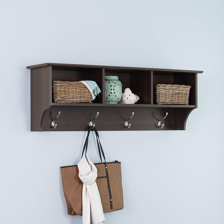 Prepac 48-inch Entryway Cubbie Shelf with 3 Compartments in Espresso, EEC-4816