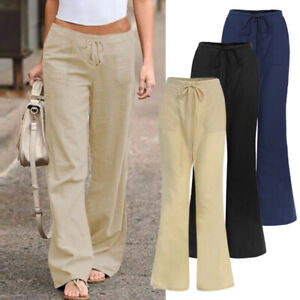 ZANZEA-Femme-Pantalon-evasee-Taille-elastique-Jambe-Large-Bande-elastique-Plus