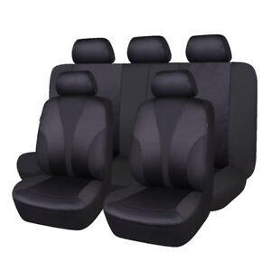 Car-Seat-Covers-Set-Polyester-Hot-Stamp-Fabric-Seat-Protectors-Black-Washable