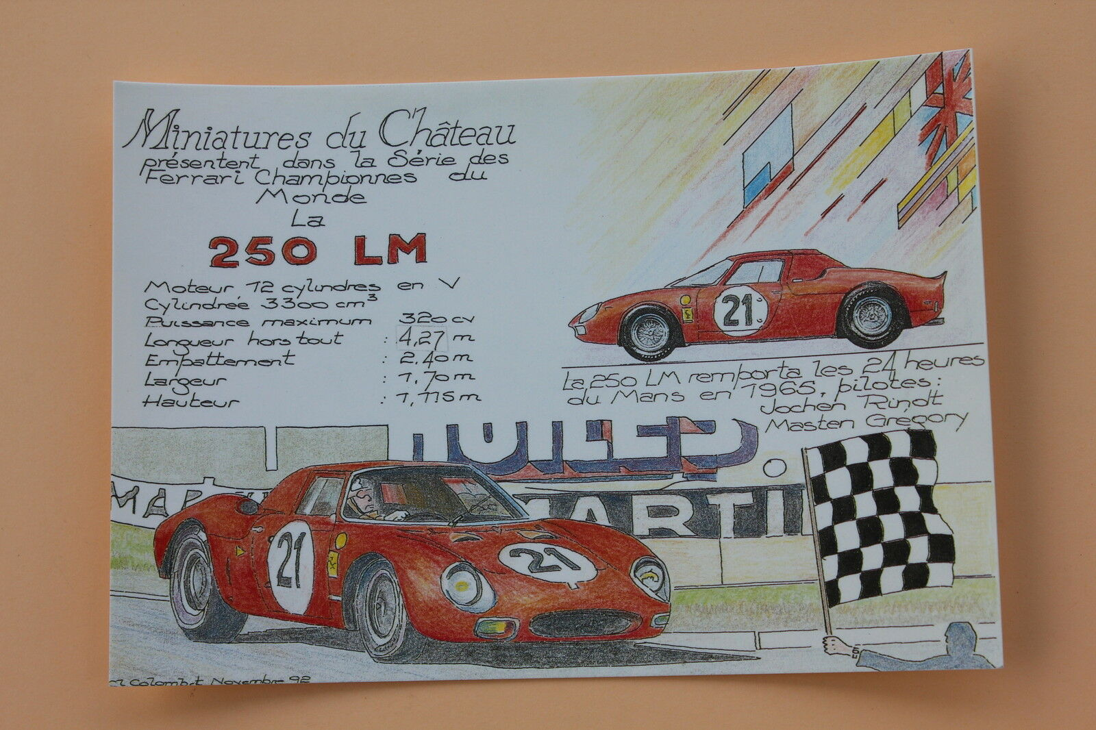 PE Miniatures château Carte postal postal postal Ferrari 250 LM 24 heures Mans 1956 N°21 Heco a7704c