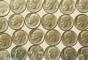 1965-to-2017-US-10-Cents-Roosevelt-Dimes-Lot-of-37-No-Duplicates-4787