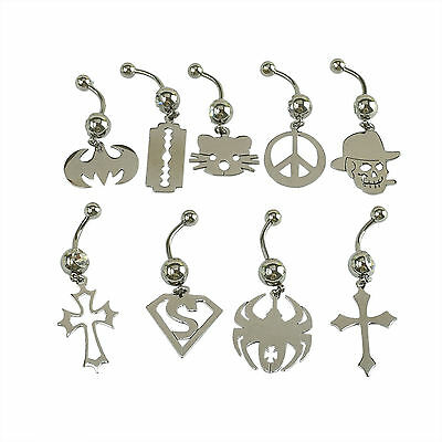 Crystal Ball Bat Super Hero Dangle Navel Belly Button Bar Barbell Ring Piercing