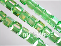 50pcs Lt Green AB Glass Crystal Faceted Cube Beads 6mm Spacer Jewelry Findings