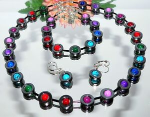 3er-Schmuckset-Kette-Armband-Ohrringe-schwarz-rot-blau-gruen-mehrfarbig-486k