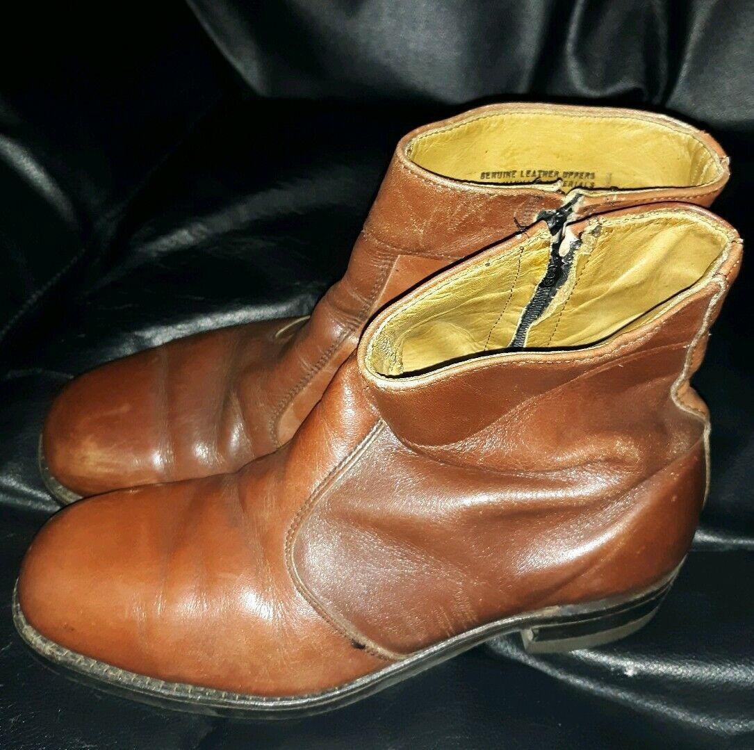 Workboots brown leather GT Hypalon 40 Zip Steel Toe Ankle Boot Men's U.S. 7 e