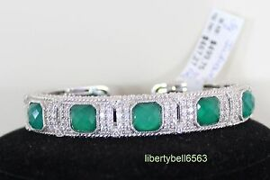 4c38f62bc78 Image is loading NEW-Judith-Ripka-Sterling-Green-Goddess-Diamonique-Cuff-