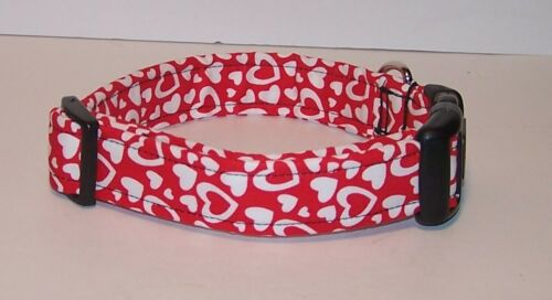 Wet Nose Designs Love Hearts Dog Collar on Red Valentines Day Puffy White Heart
