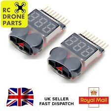 2x Lipo Alarm Battery Low Voltage 1S-8S Buzzer Indicator RC Checker Tester LED