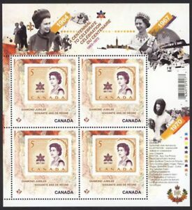 QUEEN-Elizabeth-ll-Diamond-Jubilee-2-6-MiniSheet-of-4-2514i-MNH-CANADA-2012