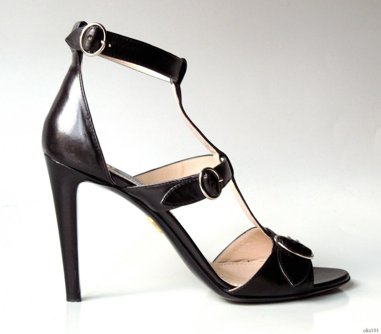 Nouveau  790 PRADA CHA CHA noir en cuir open-toe Buckle T Bride Cheville Talons Chaussures