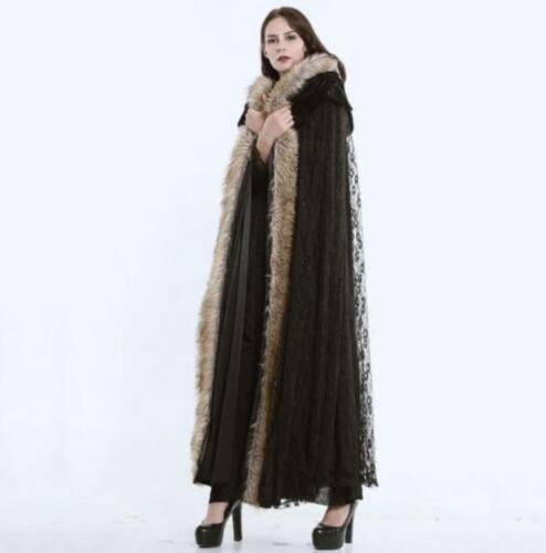 Womens Fur Long Wool Cloak Velvet Winter Coat Hooded Warm Lace Punk Loose Capes#