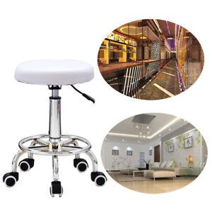 Taburete-con-ruedas-altura-regulable-Silla-360-Giratoria-Oficina-Blanco-de