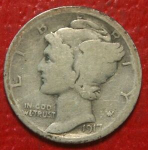 1917-D-Mercury-Dime-Circulated-90-Silver-US-Coin