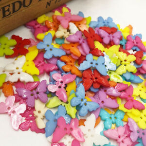 50-100pcs-Mix-Butterfly-Plastic-Buttons-22mm-Sewing-Craft-2-Holes-PT108