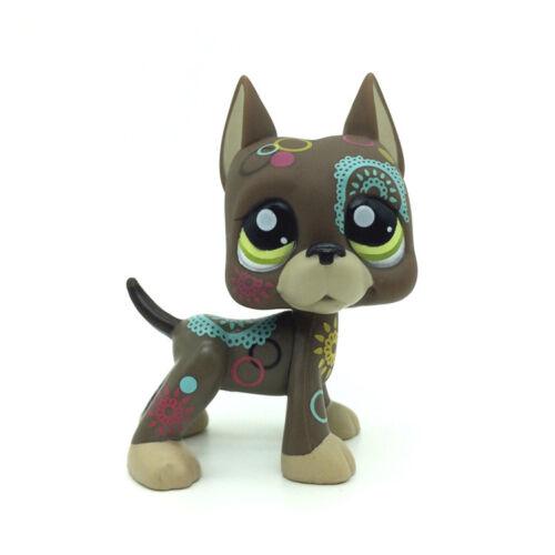 Littlest Pet Shop LPS Figure Loose Toys Gray Floral Tattoo Great Dane Dog