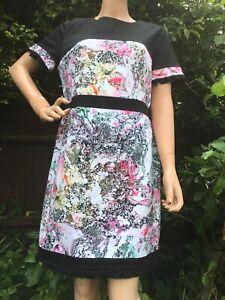 French-Connection-Black-Abstract-Floral-Fringe-Trim-Oriental-Designer-Dress-Uk16