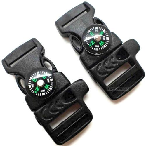 17 mm Sifflet Boussole Paracord Boucle Boucles Clic Fermeture Survival Noir